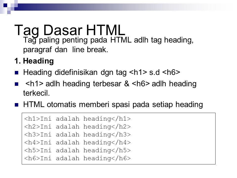 Tag Dasar HTML Tag paling penting pada HTML adlh tag heading, paragraf dan line break. 1. Heading.