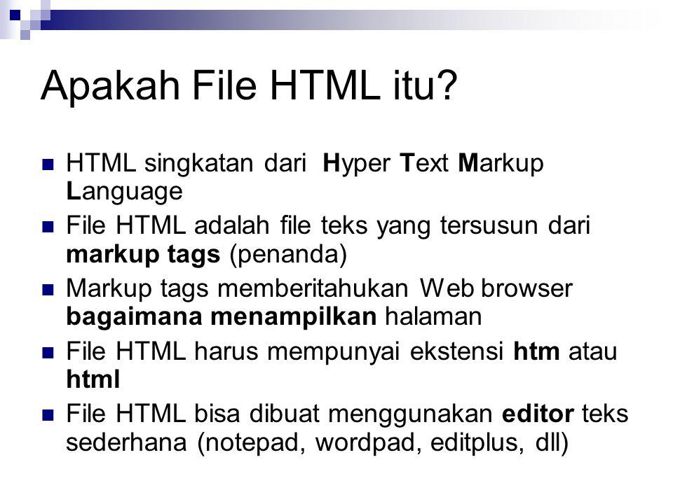Apakah File HTML itu HTML singkatan dari Hyper Text Markup Language