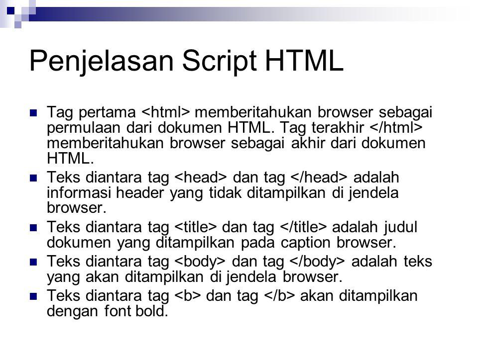 Penjelasan Script HTML
