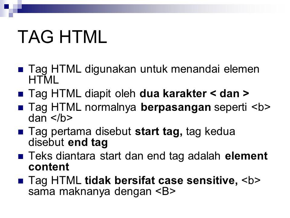 TAG HTML Tag HTML digunakan untuk menandai elemen HTML