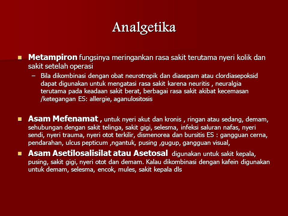 Analgetika Metampiron fungsinya meringankan rasa sakit terutama nyeri kolik dan sakit setelah operasi.