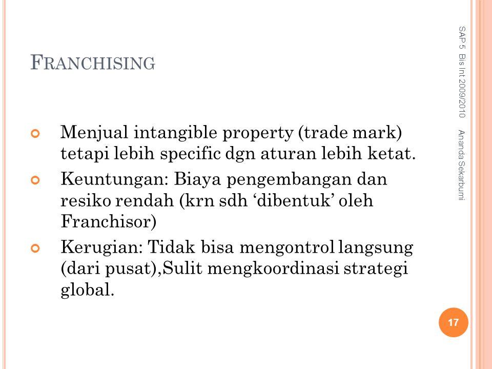 Franchising SAP 5 Bis Int 2009/2010. Menjual intangible property (trade mark) tetapi lebih specific dgn aturan lebih ketat.