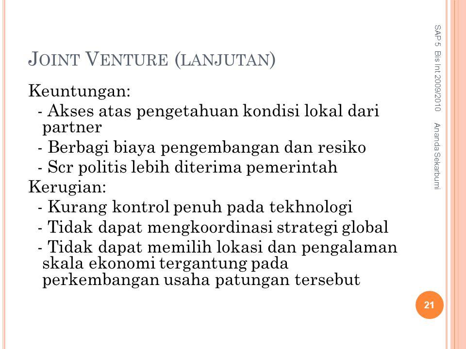 Joint Venture (lanjutan)
