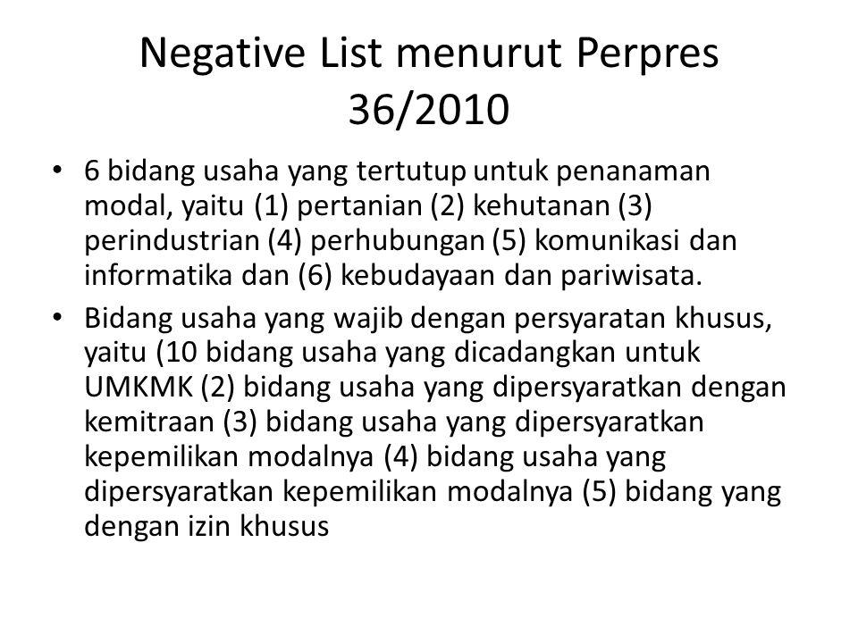 Negative List menurut Perpres 36/2010