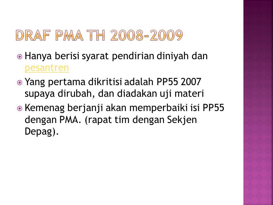 DraF pma TH 2008-2009 Hanya berisi syarat pendirian diniyah dan pesantren.
