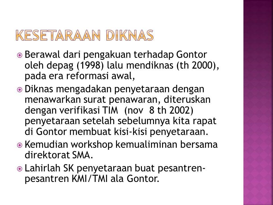 Kesetaraan Diknas Berawal dari pengakuan terhadap Gontor oleh depag (1998) lalu mendiknas (th 2000), pada era reformasi awal,