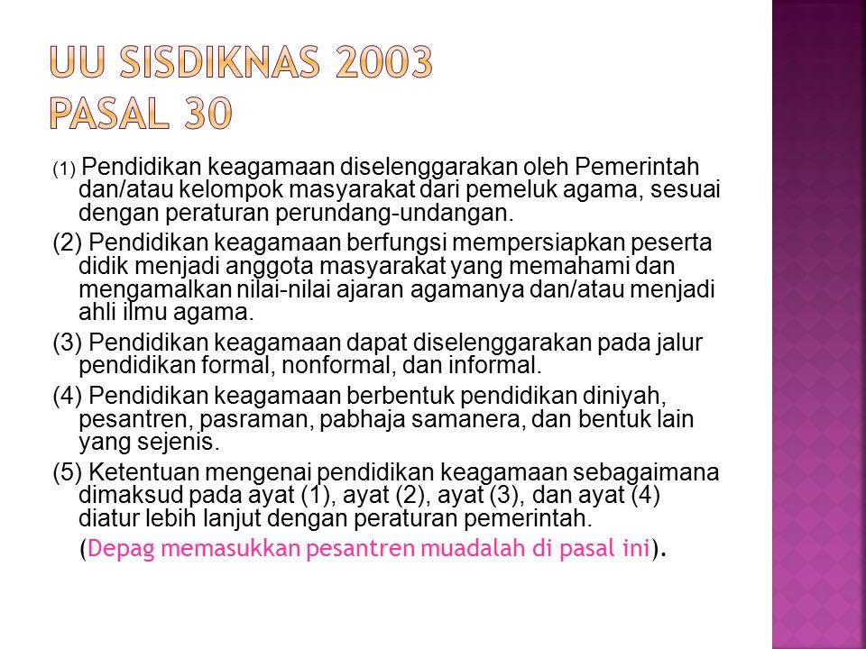 UU Sisdiknas 2003 Pasal 30