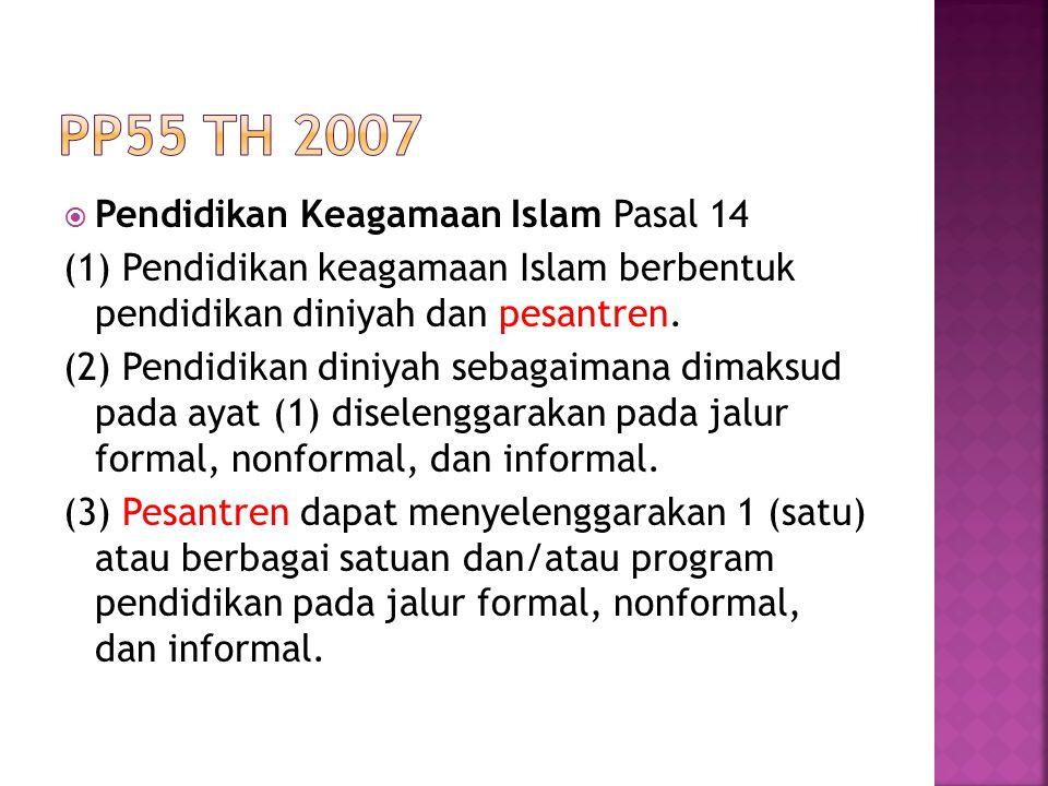 PP55 th 2007 Pendidikan Keagamaan Islam Pasal 14