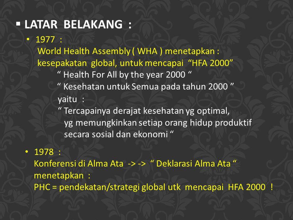 LATAR BELAKANG : 1977 : World Health Assembly ( WHA ) menetapkan :
