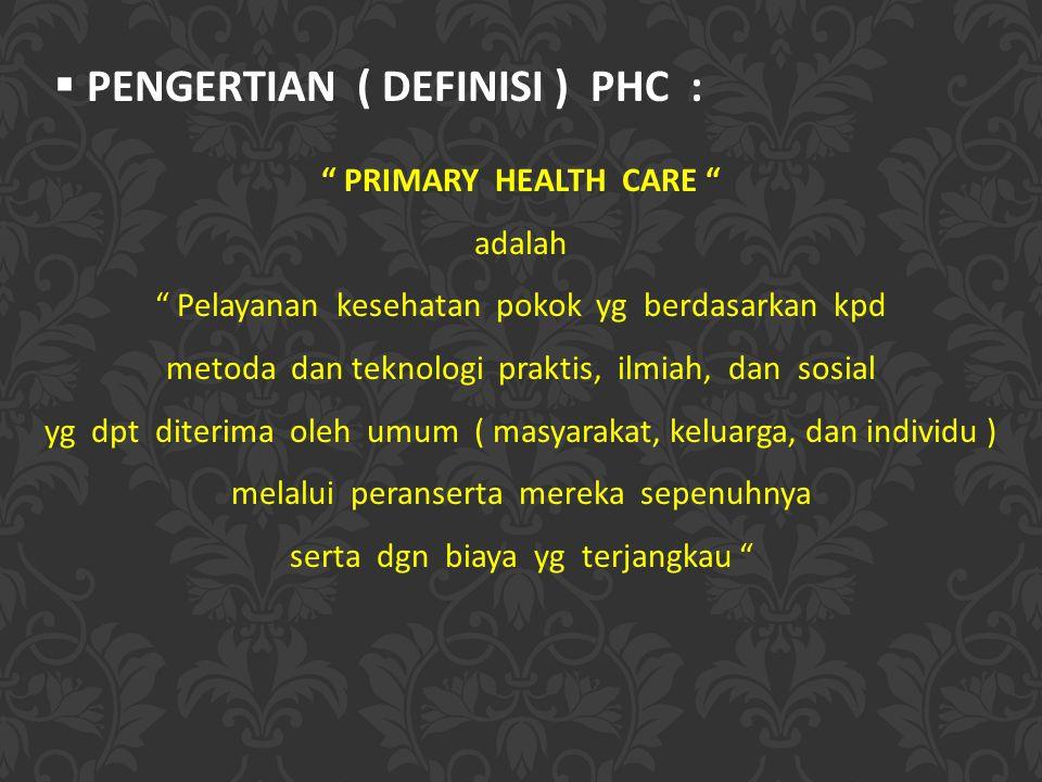 PENGERTIAN ( DEFINISI ) PHC :