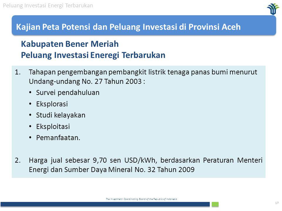 Kabupaten Bener Meriah Peluang Investasi Eneregi Terbarukan