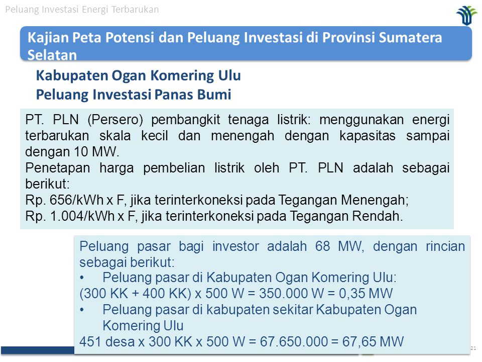 Kabupaten Ogan Komering Ulu Peluang Investasi Panas Bumi