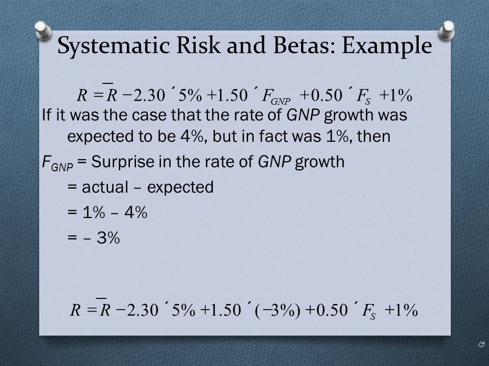 Systematic Risk and Betas: Example