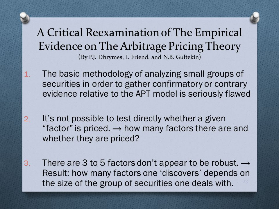 the basic theory of the arbitrage pricing theory finance essay Capital asset pricing model and arbitrage pricing theory the basic theory of arbitrage pricing theory is the idea that the capital asset pricing model essay.