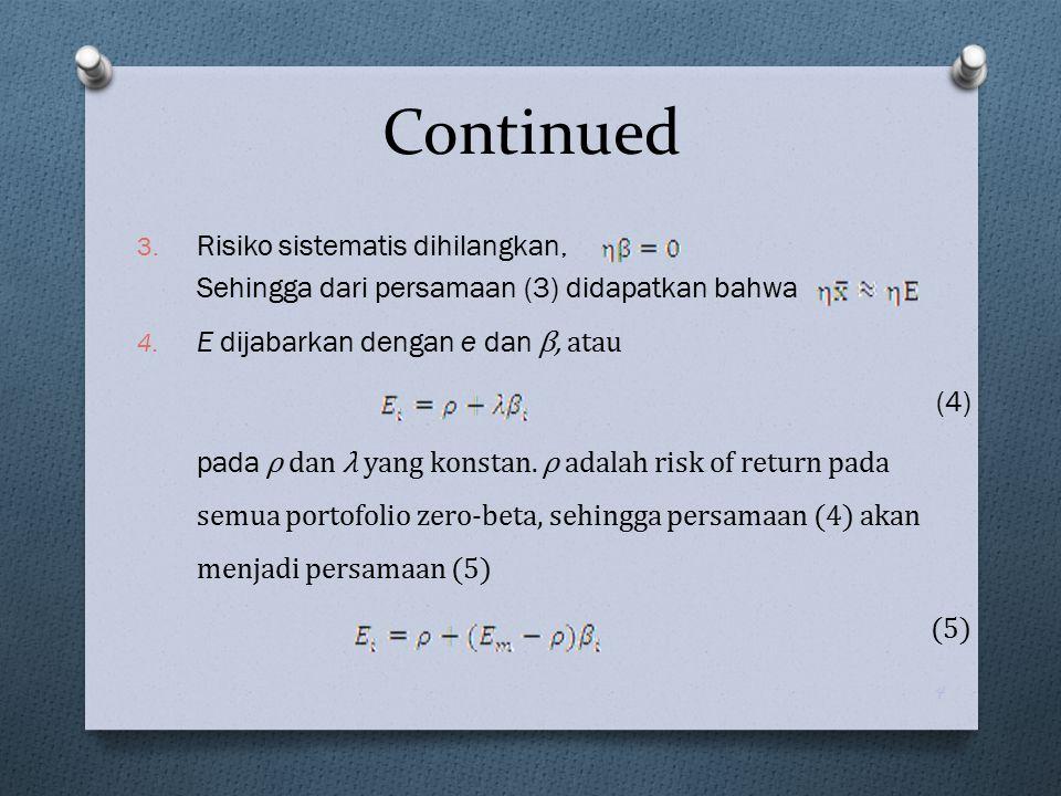 Continued Rumus APT single factor Rumus APT multi factor