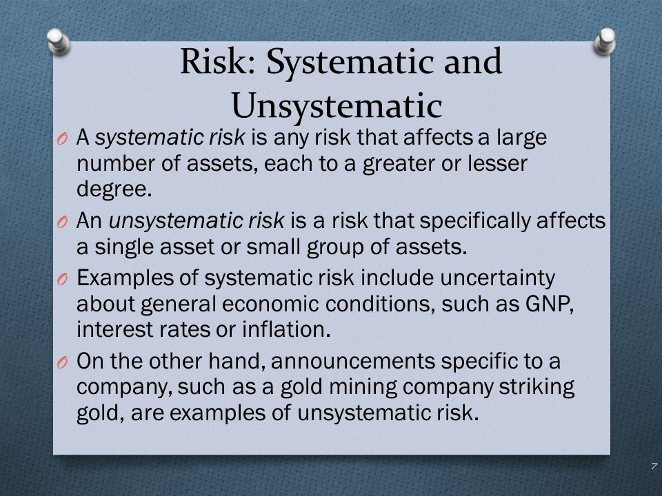 Risk: Systematic and Unsystematic