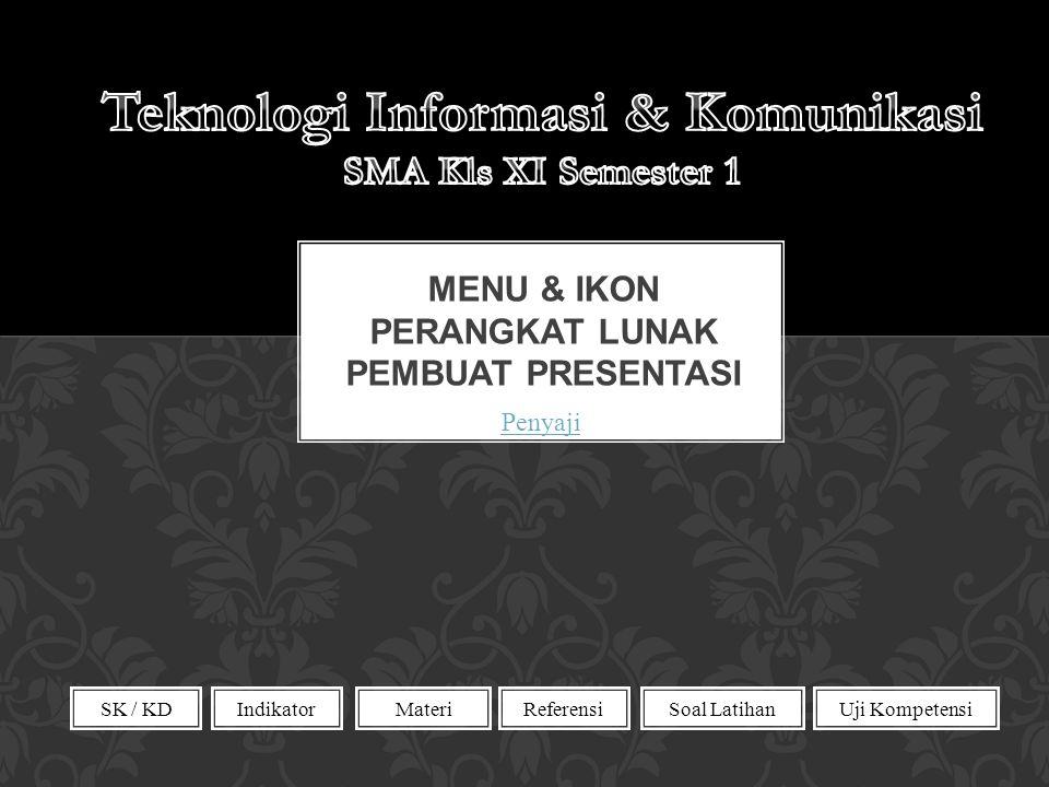 Menu & Ikon Perangkat lunak pembuat presentasi
