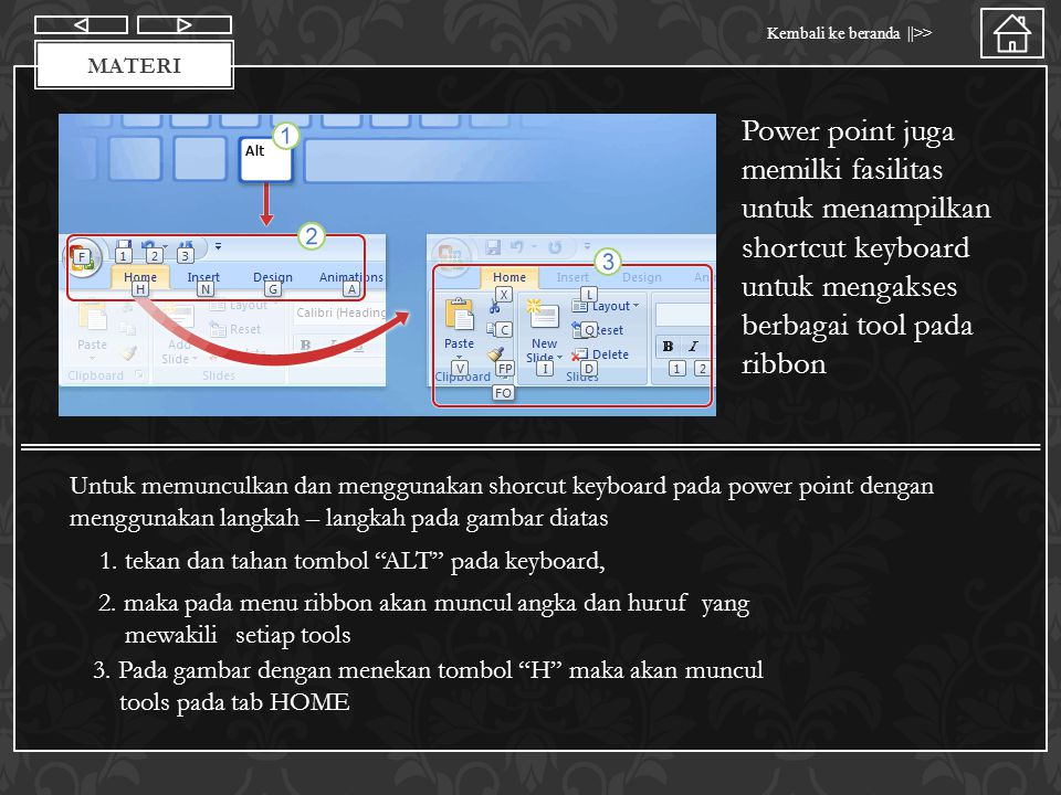 Materi Power point juga memilki fasilitas untuk menampilkan shortcut keyboard untuk mengakses berbagai tool pada ribbon.