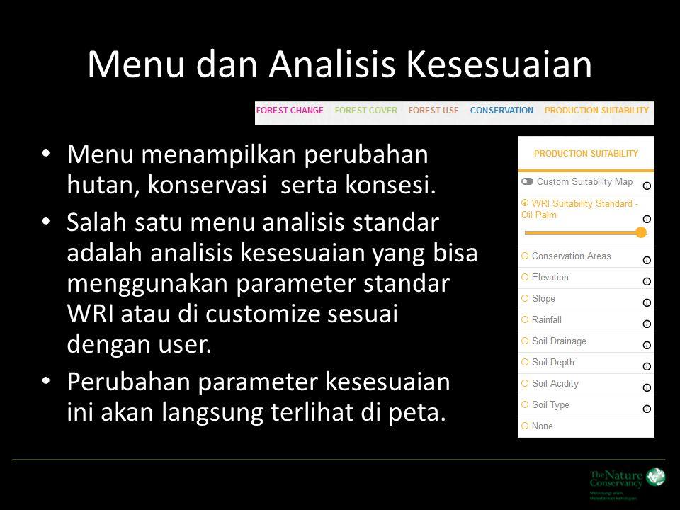 Menu dan Analisis Kesesuaian