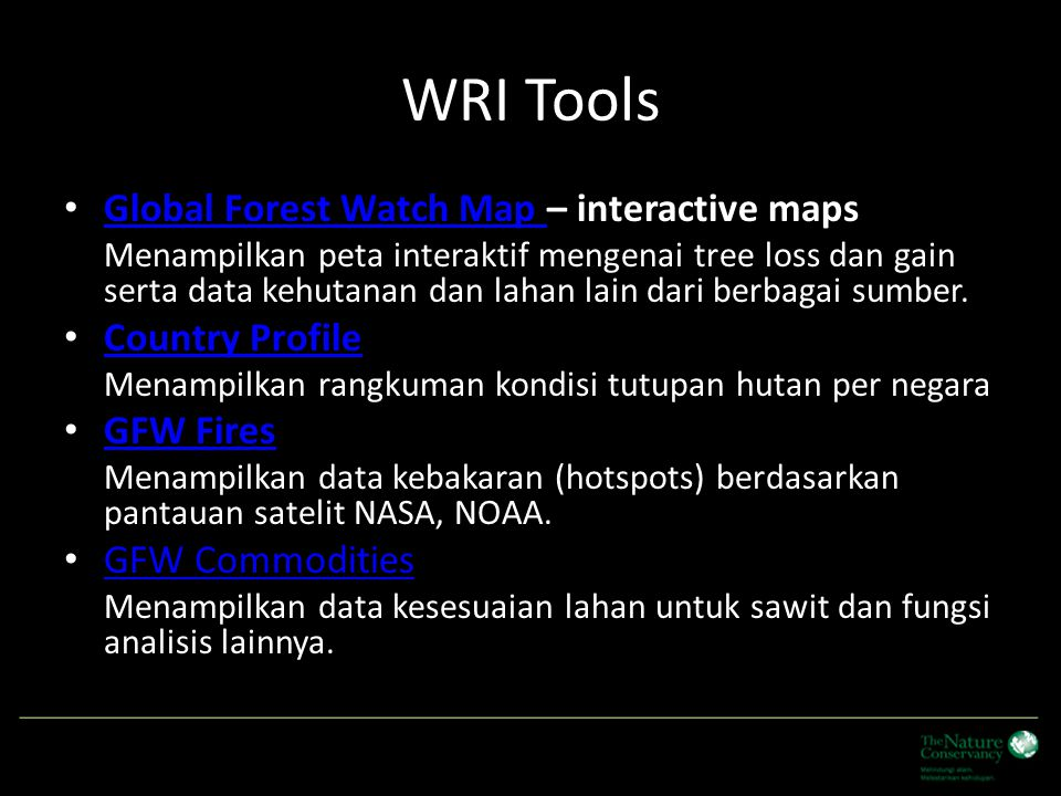 WRI Tools Global Forest Watch Map – interactive maps Country Profile