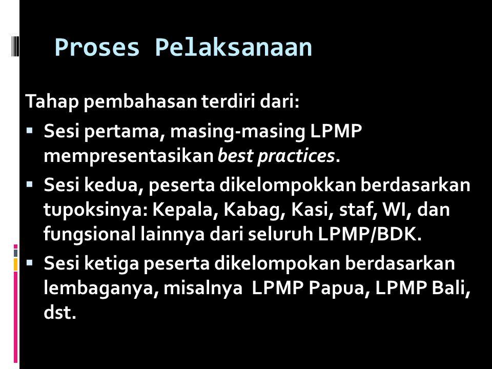 Proses Pelaksanaan Tahap pembahasan terdiri dari: