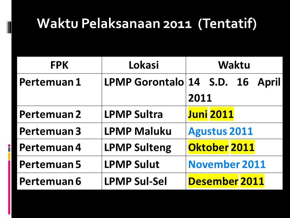 Waktu Pelaksanaan 2011 (Tentatif)
