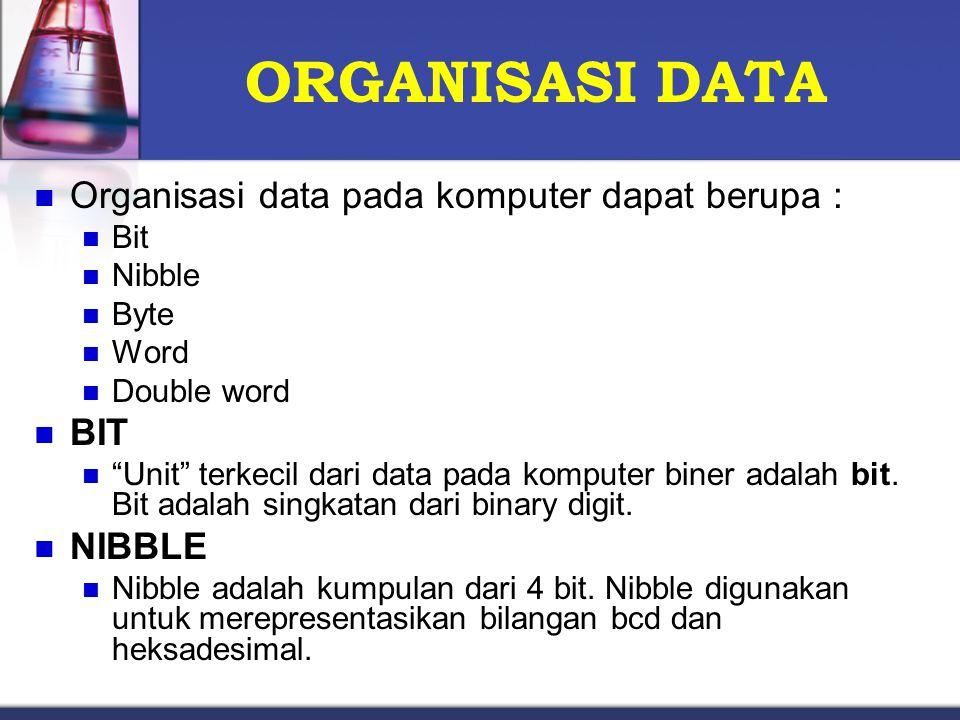 ORGANISASI DATA Organisasi data pada komputer dapat berupa : BIT