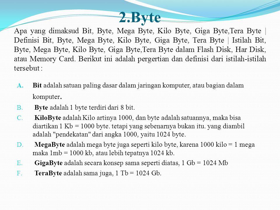 2.Byte Apa yang dimaksud Bit, Byte, Mega Byte, Kilo Byte, Giga Byte,Tera Byte | Definisi Bit, Byte, Mega Byte, Kilo Byte, Giga Byte, Tera Byte | Istilah Bit, Byte, Mega Byte, Kilo Byte, Giga Byte,Tera Byte dalam Flash Disk, Har Disk, atau Memory Card. Berikut ini adalah pergertian dan definisi dari istilah-istilah tersebut :