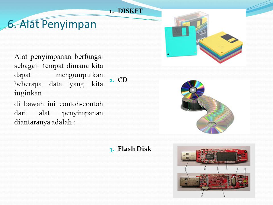 1. DISKET CD. Flash Disk. 6. Alat Penyimpan.