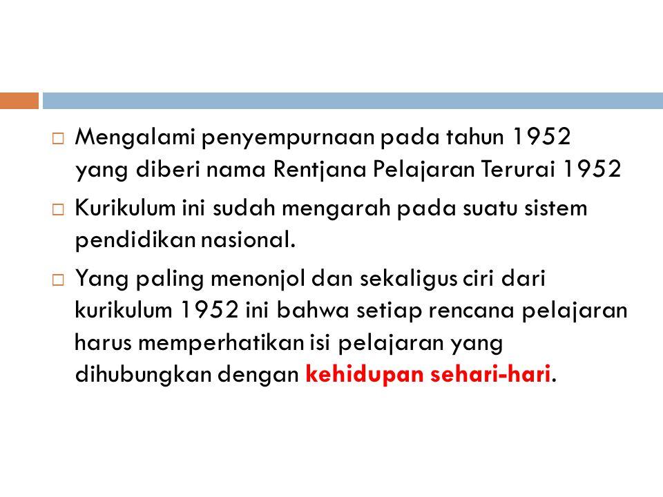 Mengalami penyempurnaan pada tahun 1952 yang diberi nama Rentjana Pelajaran Terurai 1952