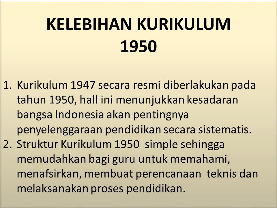 KELEBIHAN KURIKULUM 1950.