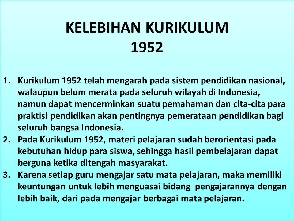 KELEBIHAN KURIKULUM 1952.