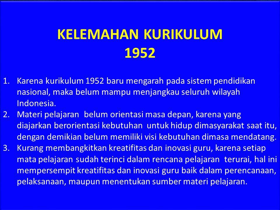 KELEMAHAN KURIKULUM 1952.