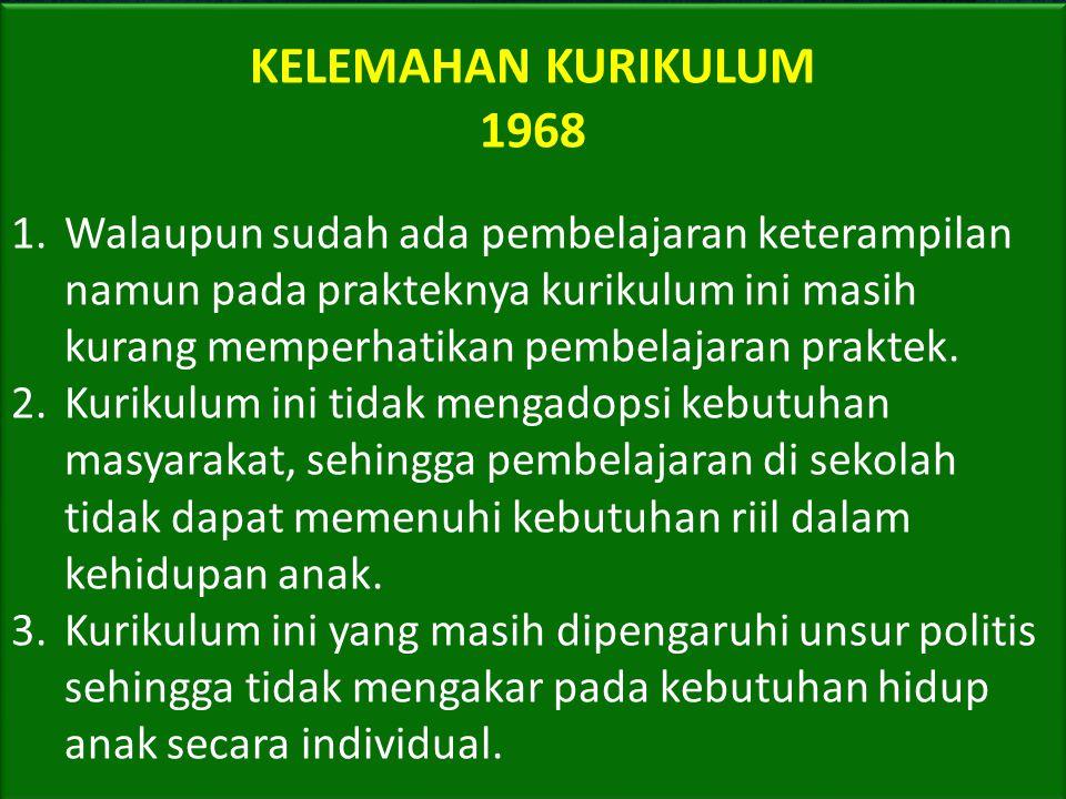KELEMAHAN KURIKULUM 1968.