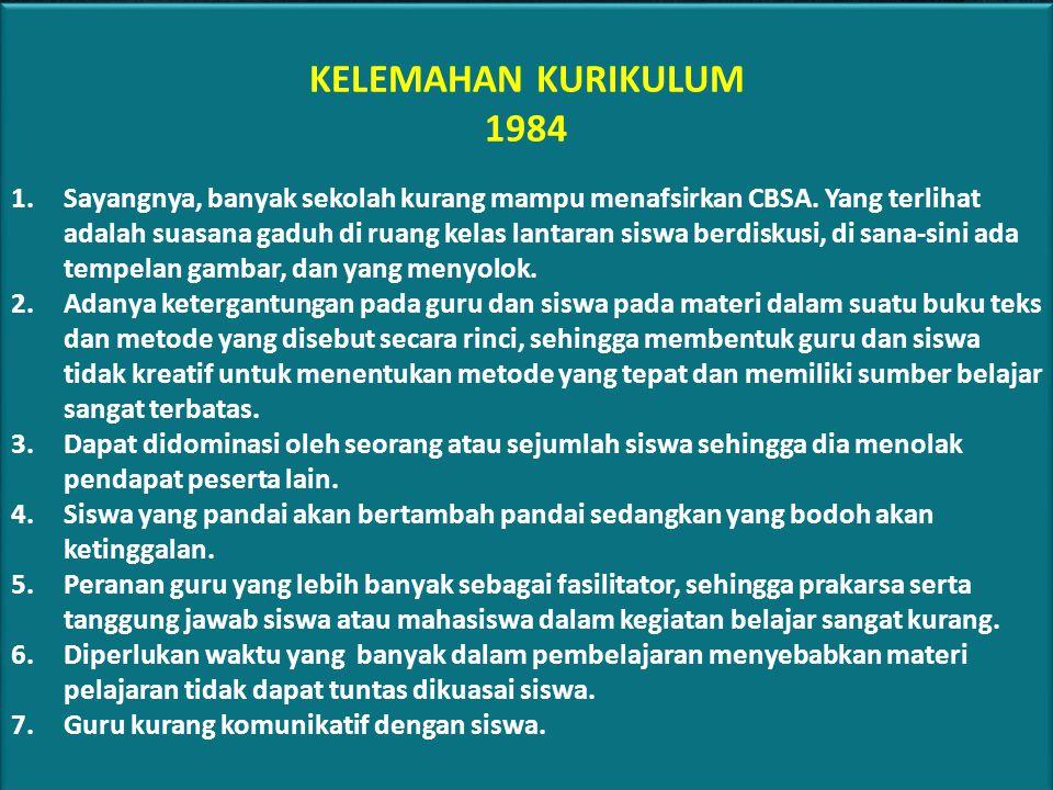 KELEMAHAN KURIKULUM 1984.