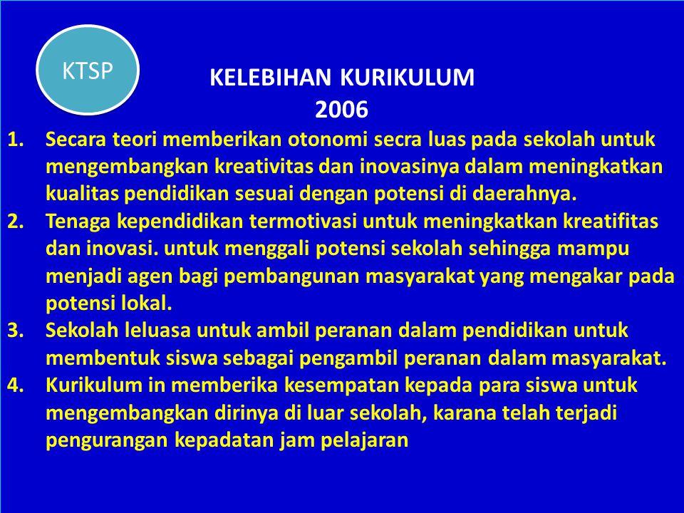 KELEBIHAN KURIKULUM KTSP 2006