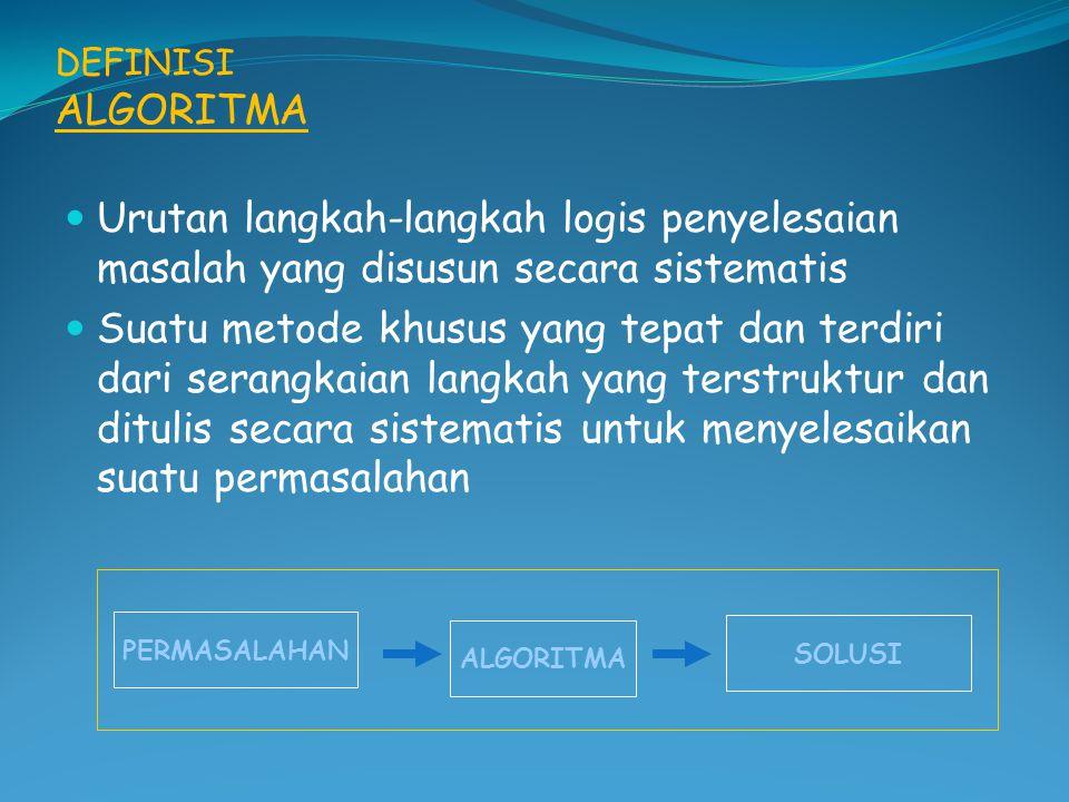 DEFINISI ALGORITMA Urutan langkah-langkah logis penyelesaian masalah yang disusun secara sistematis.