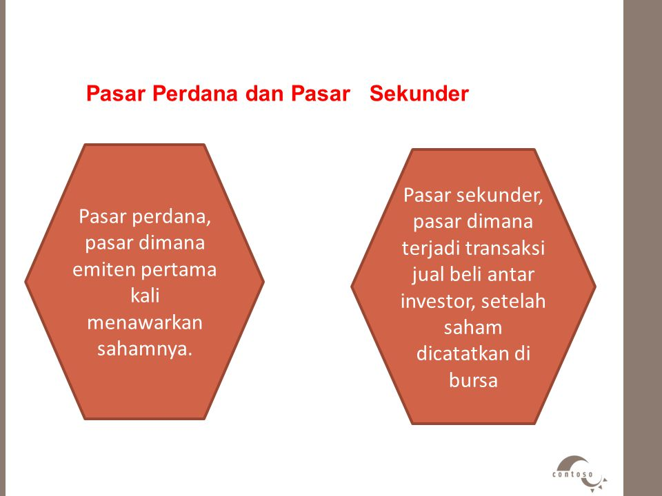 Pasar perdana, pasar dimana emiten pertama kali menawarkan sahamnya.