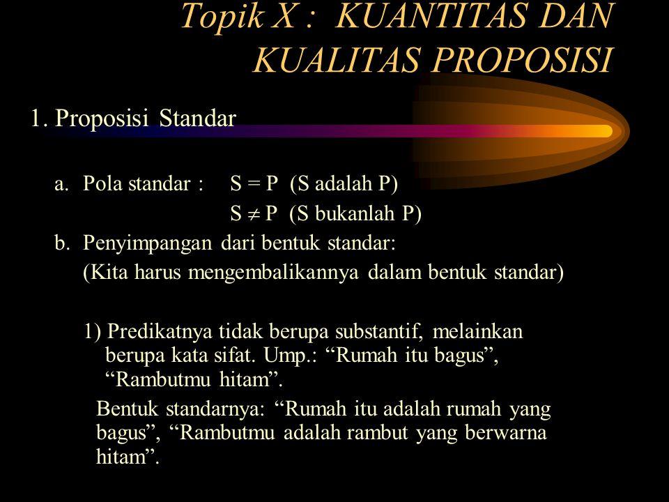 Topik X : KUANTITAS DAN KUALITAS PROPOSISI