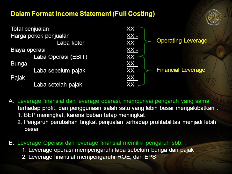 Dalam Format Income Statement (Full Costing)