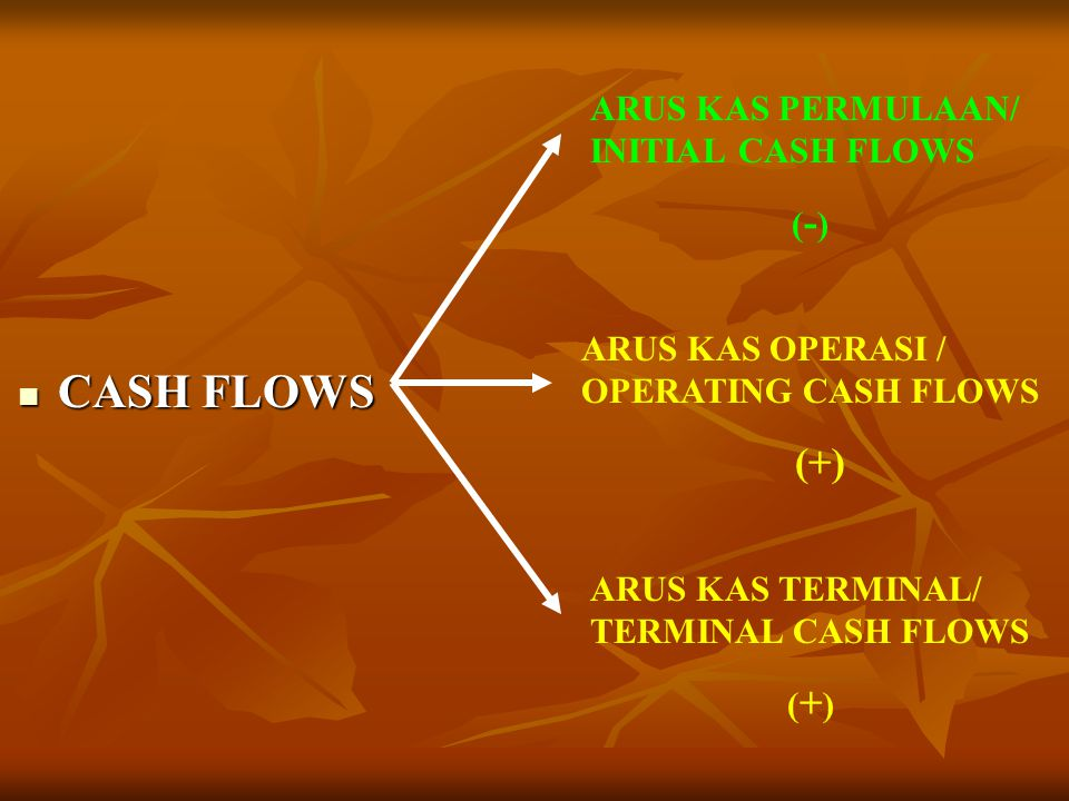 CASH FLOWS (+) ARUS KAS PERMULAAN/ INITIAL CASH FLOWS (-)