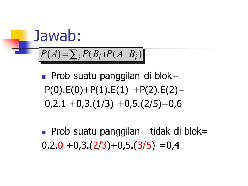 Jawab: Prob suatu panggilan di blok= P(0).E(0)+P(1).E(1) +P(2).E(2)=