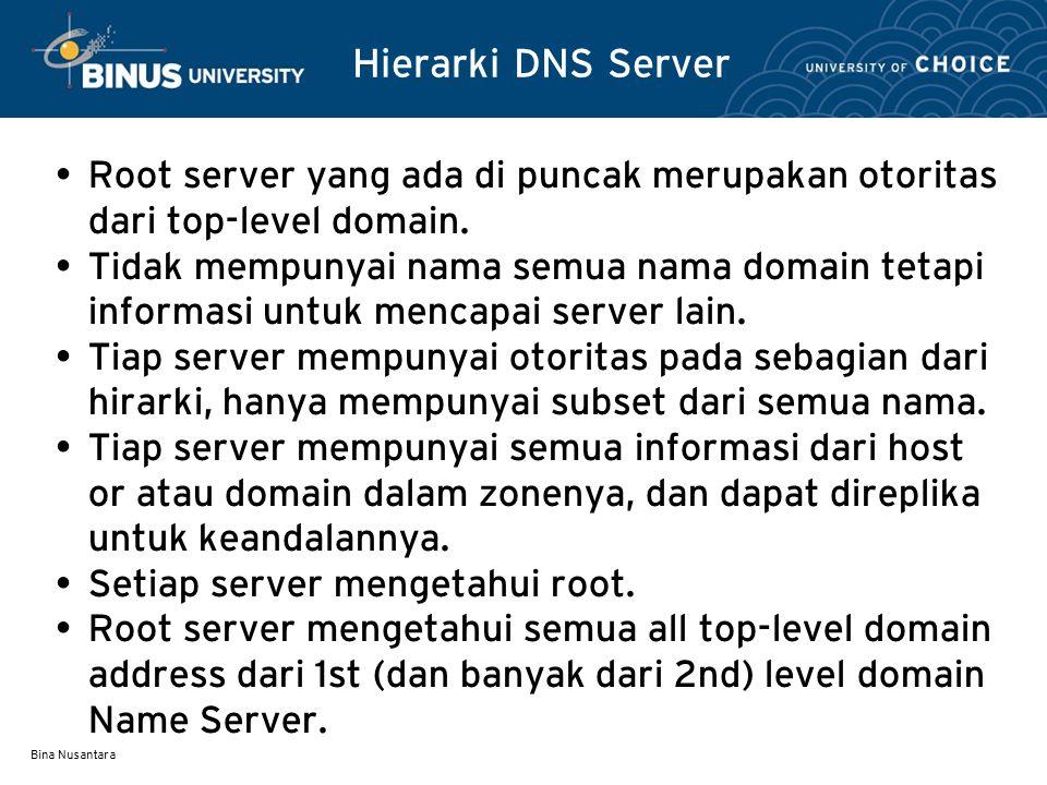 Hierarki DNS Server Root server yang ada di puncak merupakan otoritas dari top-level domain.