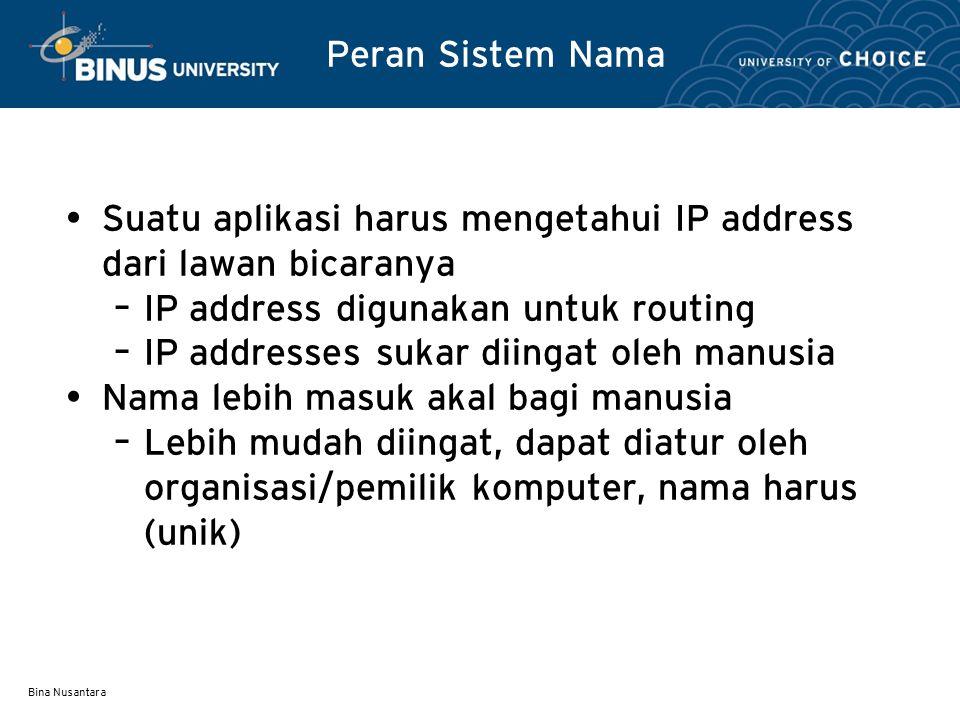 Suatu aplikasi harus mengetahui IP address dari lawan bicaranya