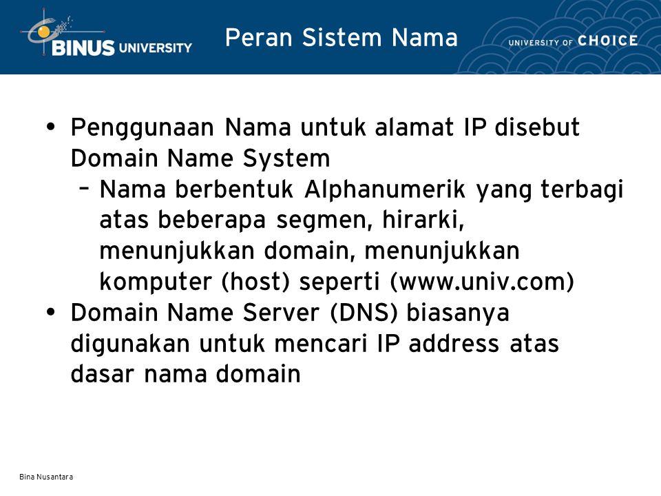 Penggunaan Nama untuk alamat IP disebut Domain Name System