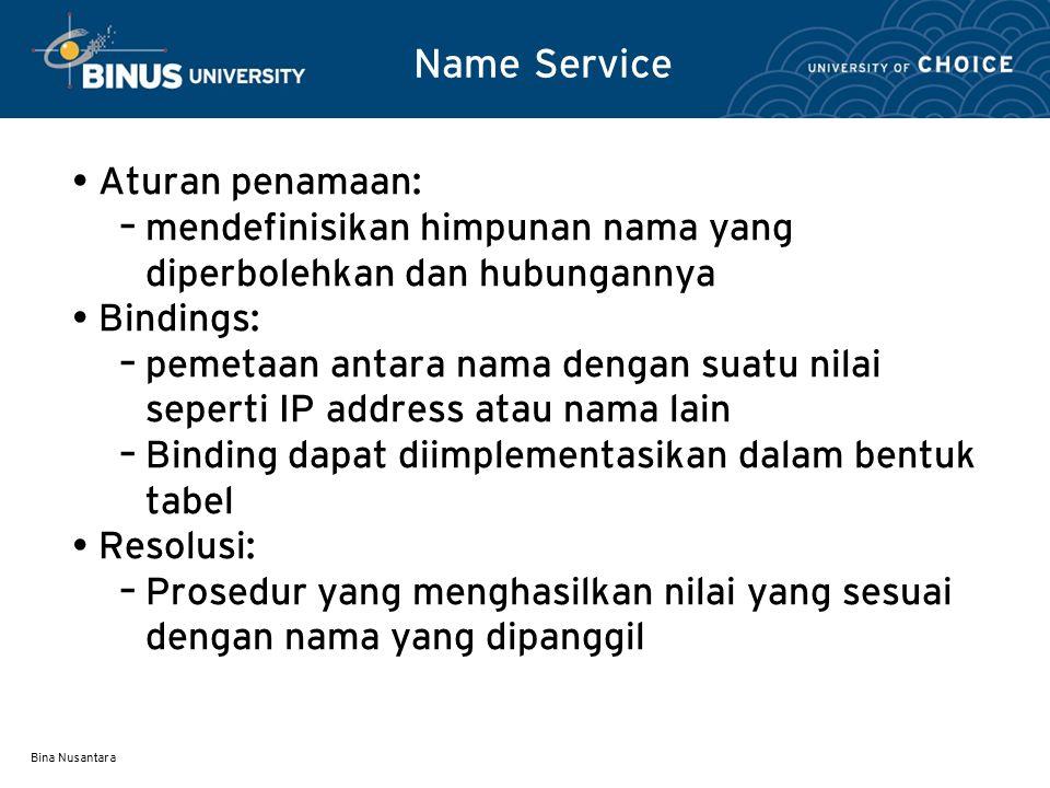 Name Service Aturan penamaan: