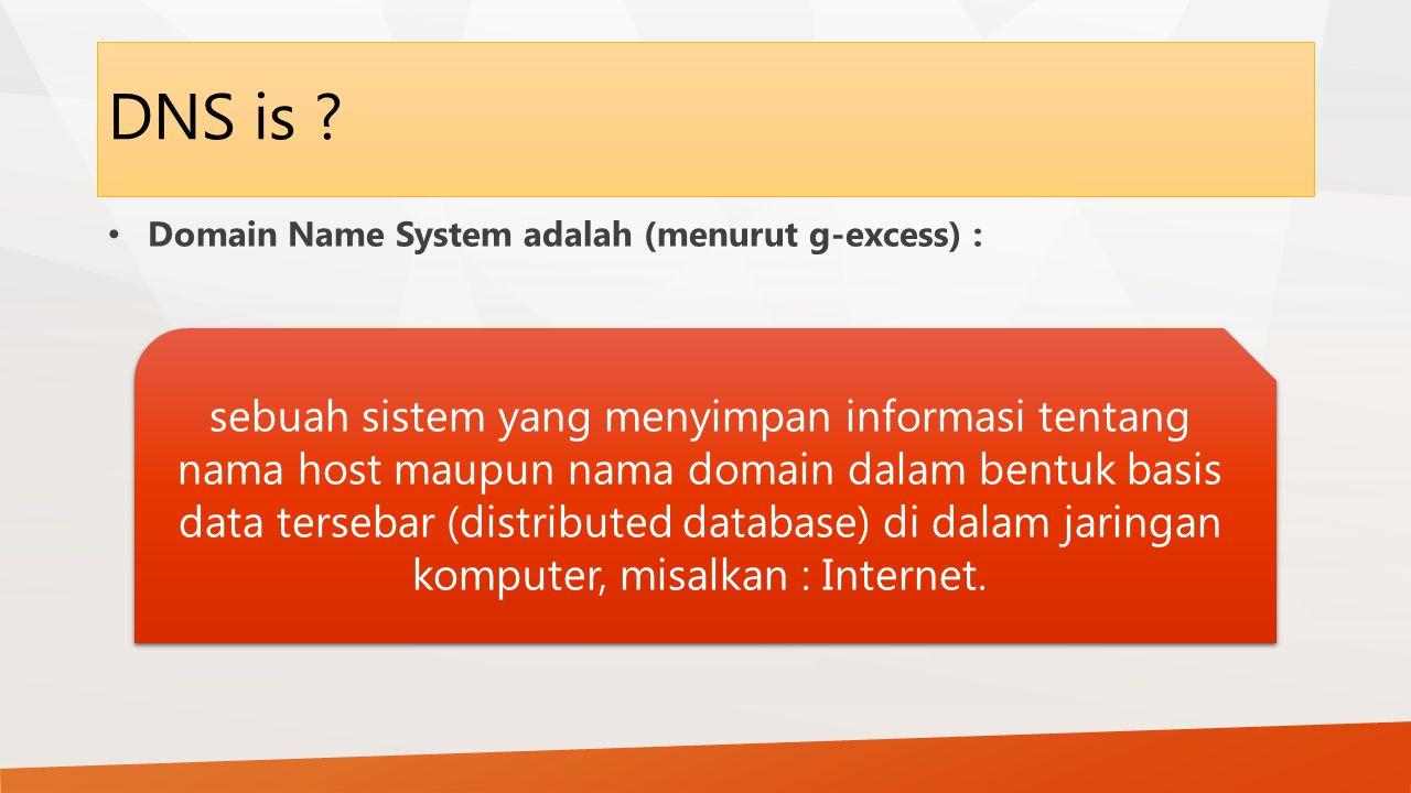 DNS is Domain Name System adalah (menurut g-excess) :