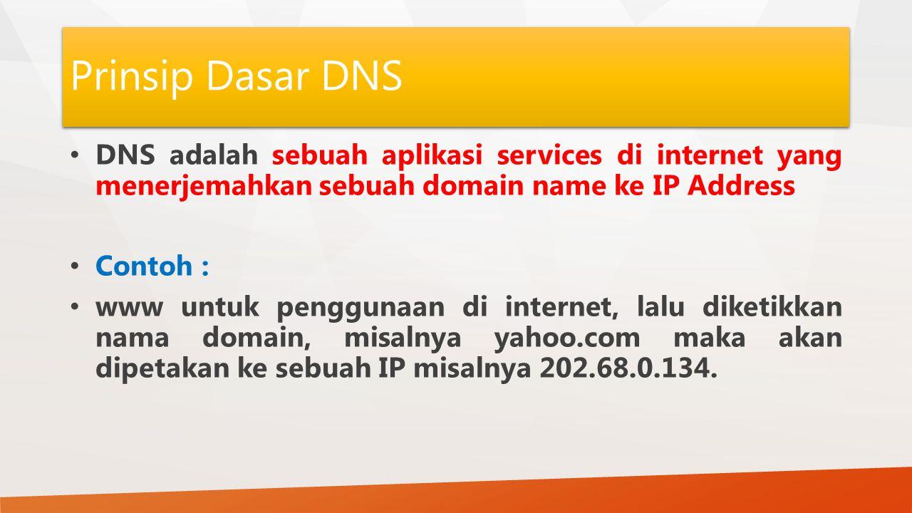 Prinsip Dasar DNS DNS adalah sebuah aplikasi services di internet yang menerjemahkan sebuah domain name ke IP Address.