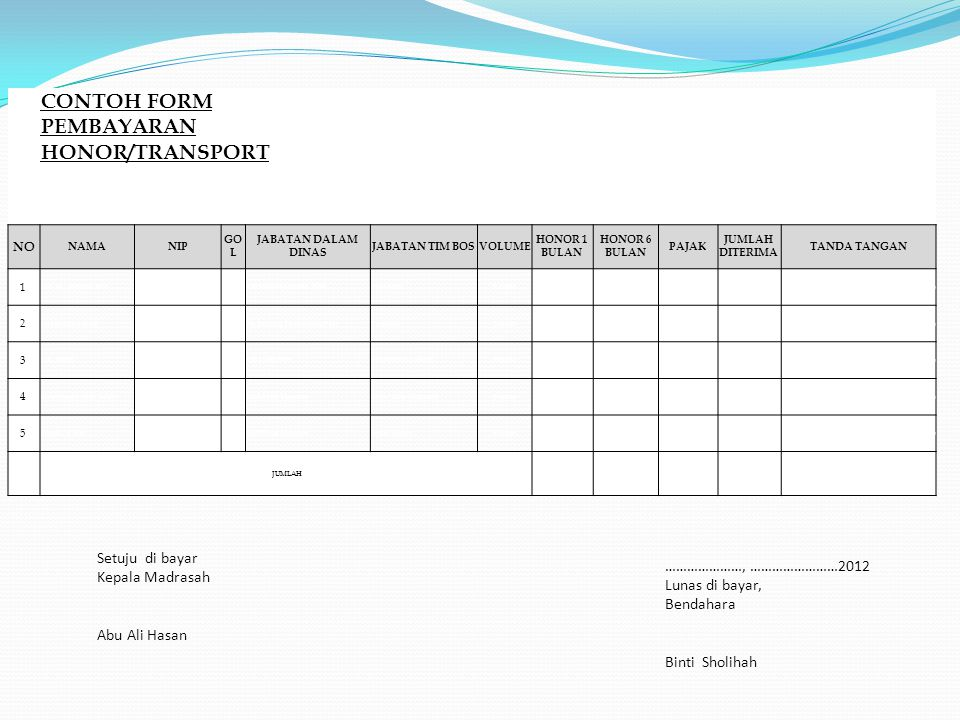 CONTOH FORM PEMBAYARAN HONOR/TRANSPORT