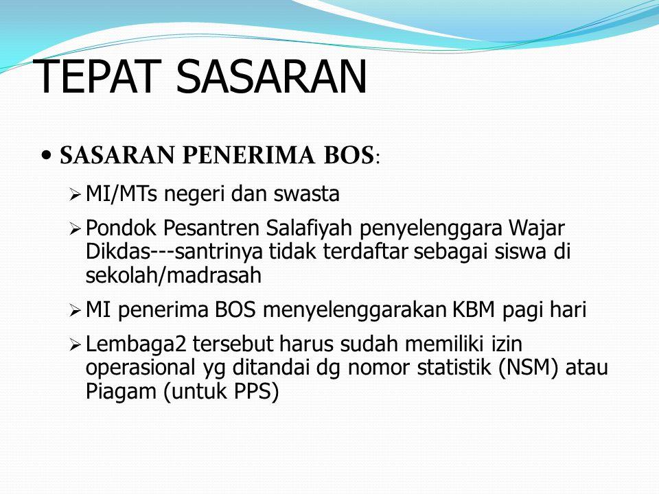 TEPAT SASARAN SASARAN PENERIMA BOS: MI/MTs negeri dan swasta